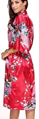 da Kimono Notte Camicie FLYCHEN e Donna in nozze Raso Accappatoi Vestaglie di Rosso festa 7IqPTI1Aw