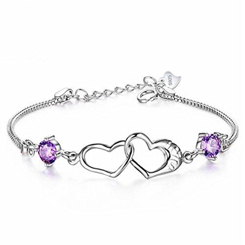 Edtoy 1PCS Fashion Happiness Double Heart Bracelet Pop Female Jewelry (Purple Diamond) from Edtoy