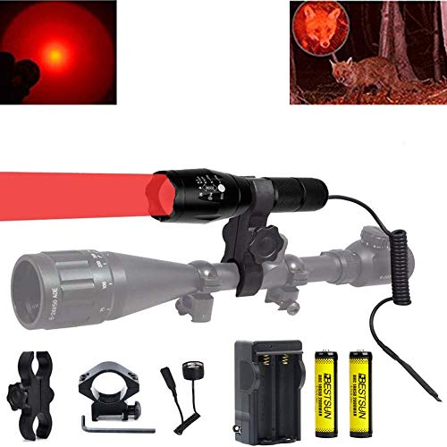 350 Yard Red Light Predator Light Zoomable Long Range Night Hunting Coyote Varmint Light Tactical Hunting Led Flashlight with Pressure Switch Picatinny Rail & Scope Mounts, Batteries and Charger