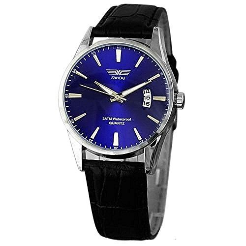 Watch Blue Face Leather Band - 5