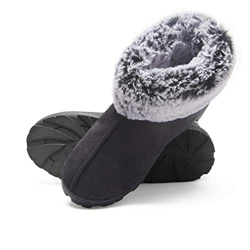 Jessica Simpson Women's Tipped Faux Fur Microsuede Super Soft Bootie Slippers With Indoor Outdoor Sole