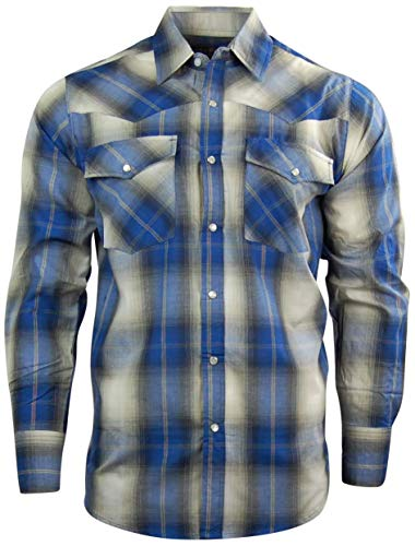 Canyon Guide Men's Long Sleeve Plaid Western Shirt | Easy Open Snap Front (X-Large, Blue Plaid (609))