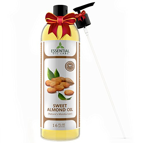 Oil Massage Off Sports (Sweet Almond Oil - 16 oz with Premium Pump - Hair, Nails and Skin Care - Highest Quality from Spain - Essential Oil Labs)