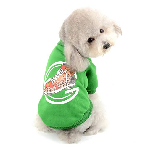 SELMAI Fleece Sweatshirt for Dogs Cats Puppy Pet Warm Cotton Jacket Sweater Basic Sweat Shirt Pullover Outfits 2 Legs Autumn and Winter Chihuahua Yorkie Apparel Green XXL