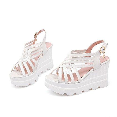 AmoonyFashion Womens Buckle Open Toe High-Heels Pu Solid Sandals White wLseL5