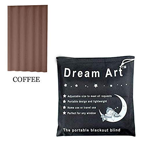 DREAM ART Anywhere Portable Blackout Curtain/Adjustable Blackout Shades/Temporary Blackout Blinds with Suction Cups for Nursery,Children Kids Bedroom or Travel Use,Coffee,1 pc W52xL72Inch(132X183cm)
