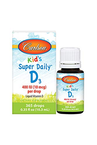 Carlson - Kid's Super Daily D3, 400 IU per drop, 1-Year Supply, Heart & Immune Health, Liquid Vitamin D, Unflavored, 365 drops (Best Vit D For Kids)