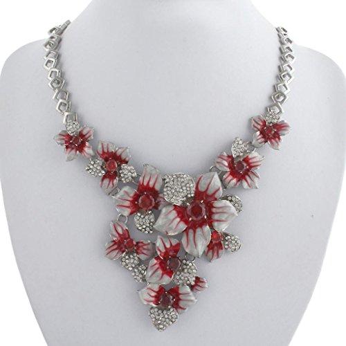 Ever Faith - Cristal Autrichien Fleur Surdimensionné Parures Bijoux Rouge Plaqué Argent N03721-5