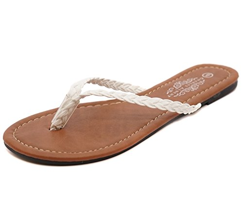 Charles Albert Women's Brandy PU Braided T Strap Thong Flip Flop Sandal in White Size: 10 ()