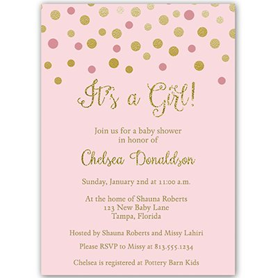 Pink and Gold Confetti Dots,It's a Girl, Baby Shower Invitation, Pink, Gold, Sparkle, 10 Custom Printed Invites with White Envelopes, ()