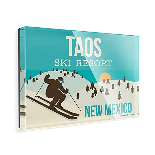 Acrylic Fridge Magnet Taos Ski Resort - New Mexico Ski Resort NEONBLOND