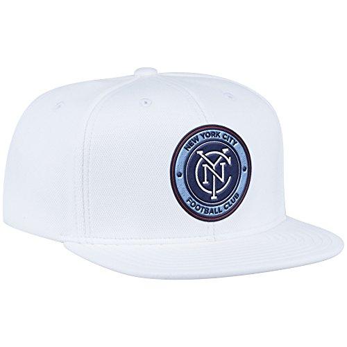 adidas MLS N.Y.C. Football Club Men's ZNE Flat Brim Snapback Cap, One Size, White