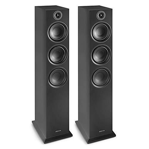 Fenton SHF80B Hifi Speakers 500W – 3-weg High-end speakerset – 3 Woofers + Tweeter – Muziek, Films en Games – Zwart