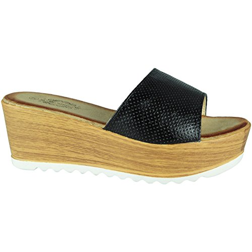 LoudLook Womens Slip On Wedges Ladies Platform Cleated Sole Mid Wedge Heel Shoes Size 3-8 Black A9pShzUQ