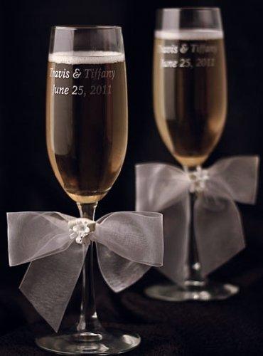 (Porcelain Stephanotis Bouquet Wedding Toasting Glasses: Bow Color: Ivory)