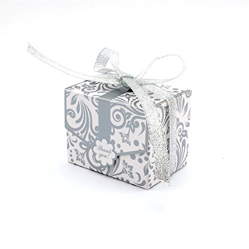 (100 PCS Candy Favor Bags Gift Boxes Ribbons Wedding Party Favour Sweet Cake Gift Candy Boxes Anniversary Wedding Party )