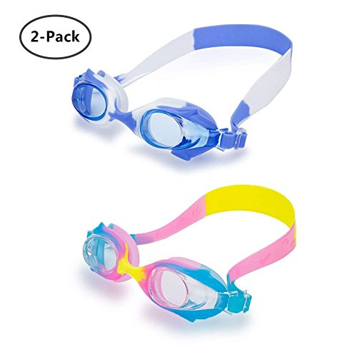 Yuccer Kids Swim Goggles, Waterproof Anti-Fog Silicone Child