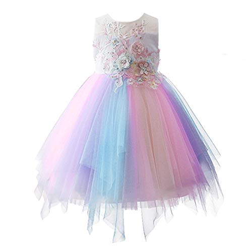 Baby Kid Girl 3D Flower Embroidery Beads Pastel Tutu Dress Pageant Party Wedding Birthday Formal Event First Communion Photo Props Family Gathering Xmas Eve Pastel Dress Only 12-18 Months