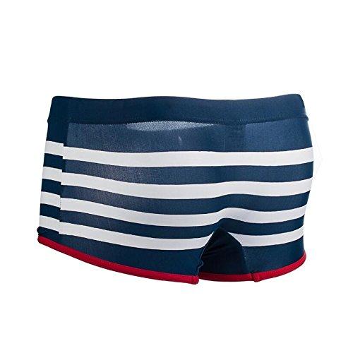 Blue Sexy Mens Slim Fit Swimming Tight Navy Stripe Skimpy