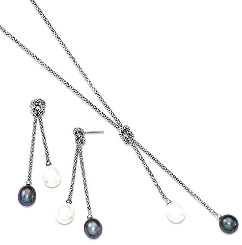 ICE CARATS 925 Sterling Silver Freshwater Cultured Pearl Knot 18 In. Neck Post Stud Earrings Set Drop Dangle Necklace Fine Jewelry Gift Set For Women Heart by ICE CARATS (Image #1)