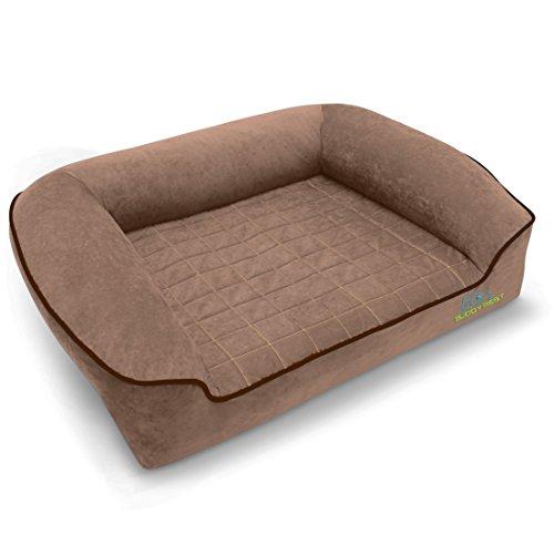 BUDDYREST Dormeo Octaspring Bolster Dog Bed - Mocha - XL 50' L x 34' W x 12' H