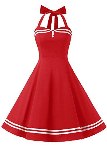 Timormode Vestido Cóctel Corto Vintage 50s Cuello Halter Vestido De Fiesta Rockabilly Mujer Red