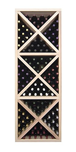 Closed Cube Wine Storage Tower w Triangular Bins (Premium Redwood Unstained) by Wine Cellar Innovations