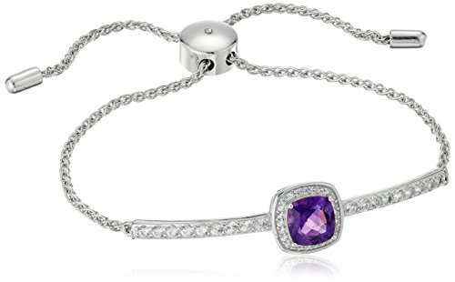 Rhodium Plated Sterling Silver Genuine African Amethyst Cushion Cut 7mm and Created (Sterling Silver African Amethyst Bracelet)
