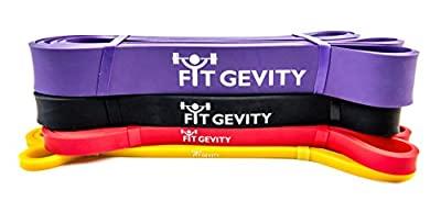 Resistance Bands by fitGevity - Heavy Duty 41 Inch Loop Band, Fitness Bands - For Pull Ups, Yoga, Pilates, Weight Training, Stretching, Crossfit Training - Best Home Gym Equipment,