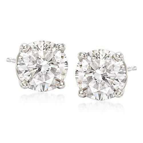 Ross-Simons 3.00 ct. t.w. CZ Stud Earrings in 14kt White Gold