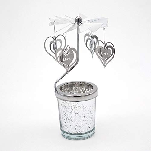 Fairylove Mercury Glass Rotating Love Heart Candle Holder (Sliver) ()