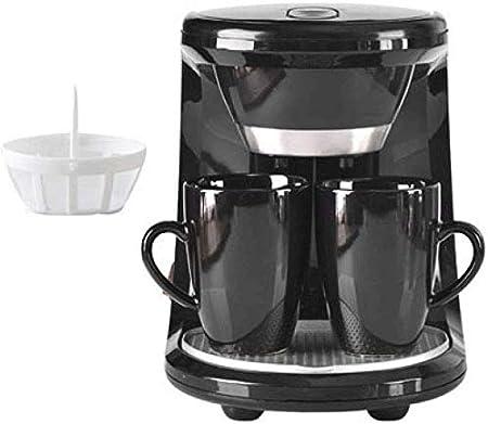 CHNFF Práctico Máquina de café, Mini Electric Goteo Cafetera Inicio semiautomática Tetera for Hacer té café máquina de Espresso 2 Copas, Negro: Amazon.es: Hogar