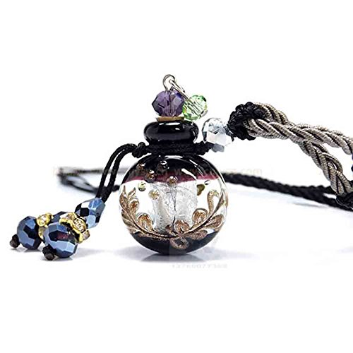 UPMALL Essential Oils Pendant, Aroma Fragance Colored Glaze Pendant with Adjustable Chain Perfume Essential Oil Diffuser, Gift Wrap, 1 Free Transfer Dropper Pipette and Extra Free Cork Italian Black ()