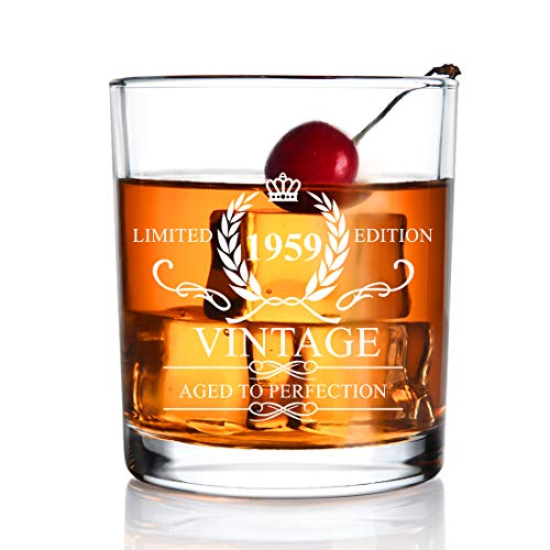 1959 60th Birthday Gifts for Men and Women - 11oz Whiskey Glass - Vintage Funny Anniversary Gift Ideas for Mom,Dad,Husband, Wife - 60 Years Gifts,Party Supplies,Decorations for Him or Her - 11oz ()