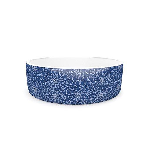 4.75\ Kess InHouse Julia Grifol White Flowers on bluee  Navy bluee Pet Bowl, 4.75