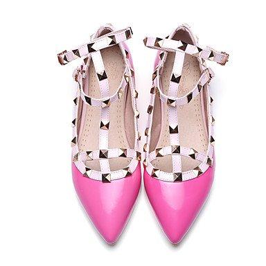 Cómodo y elegante soporte de zapatos de las mujeres pisos primavera caída Mary Jane sintética Casual fiesta y noche tacón bajo remaches negro Beige Rosa rosa negro