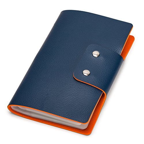 96 Business Card File - Leatherette Business Card/Credit Card Organizer Book, 96-Cell, Marine Blue