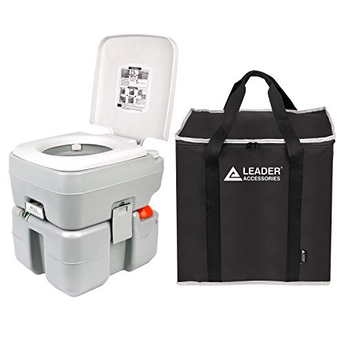 Leader Accessories Portable Toilet with Storage Bags- Travel Toilet with Level Indicator - 3 Way Pistol Flush - Rotating Spout, for Camping, Boating, Traveling & Roadtripping - 5.3 Gallon (20L) (Level Leader Market)