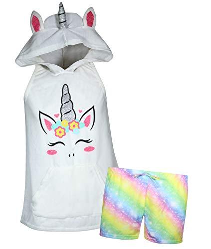 dELiA*s Girl\'s Summer Pajama Short Set with Animal Character Hood (White Unicorn, 10-12)' -