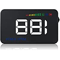 LeaningTech A500 3.5 Car HUD Head Up Display, Vehicle HUD with OBD II System Driving, KM/h MPH RPM Speeding Warning, Anti-slip Mat, Low Voltage Alarm