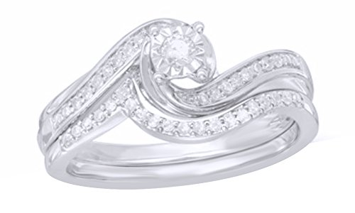 AFFY White Natural Diamond Frame Swirl Bridal Ring Set in Solid Gold (0.2 Ct)