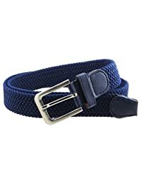 Mens Braided Elastic Stretch Belt Leather Tipped End and Silver Metal Buckle