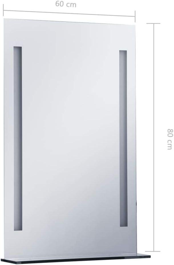 Recibidor Dormitorio Comedor Benkeg Espejo De Pared De Ba/ño con LED y Estante De Vidrio Y Aluminio Plateado 50 x 70 cm Espejo Led Ba/ño Espejo Rectangular para Sal/ón