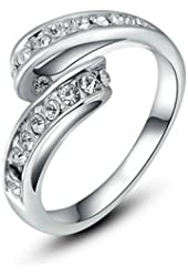 [Fashion Series] Yoursfs Twisted 18k White Gold Plated Pave Set Cubic Zirconia Valentine's Day Gift Ring