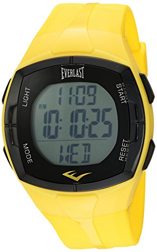 Everlast Automatic Plastic and Rubber Fitness Watch, Color:Yellow (Model: EVWHR002YE)