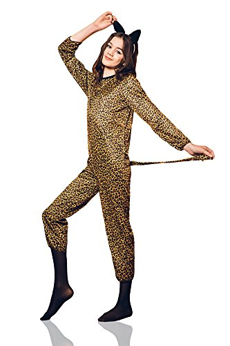 Good Musical Theatre Costumes - Kids Girls Leopard Costume Cheetah Ears Tail Cats Jumpsuit Party Outfit Dress Up (8-11 years, Black, Beige, Brown)
