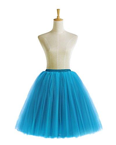 Bridesmay Faldas Tul Mujer Corta Cancan Enagua Retro Rockabilly Blue
