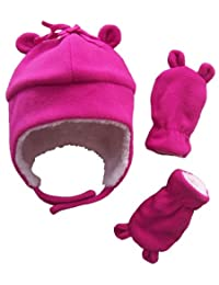 N'Ice Caps Girls Sherpa Lined Micro Fleece Hat and Mitten Set with Ears