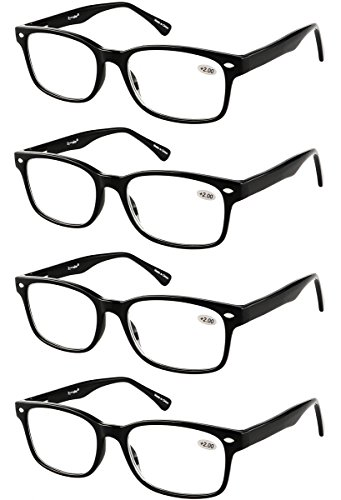 Eyecedar 4-Pack Reading Glasses For Men And Women Flexible Material Black Frame Square Shape Metal Spring Hinges Include Cloth Pouch Readers - Frames For Face Shape Glass