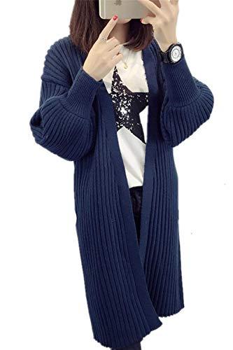 Lunghe Outerwear Aperto Blau Relaxed Vintage Cappotto Battercake Eleganti Maglia Autunno Libero A Forcella Coat Donna Lunga Casuale Monocromo Fashion Tempo Donne Maniche Giacca Primaverile Pullover T4Sxw81q4